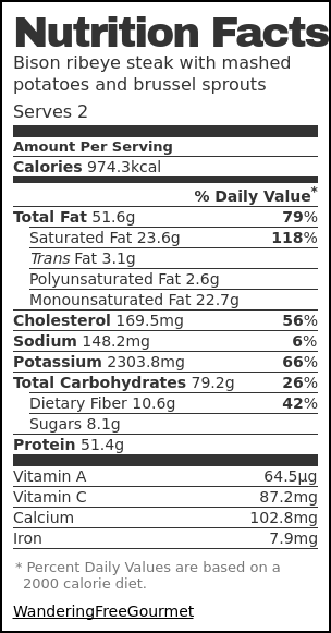 Nutrition label for Bison ribeye steak with mashed potatoes and brussel sprouts