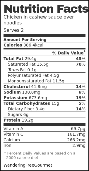 Nutrition label for Chicken in cashew sauce over noodles