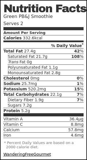 Nutrition label for Green PB&J Smoothie