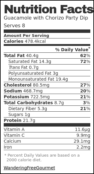 Nutrition label for Guacamole with Chorizo Party Dip