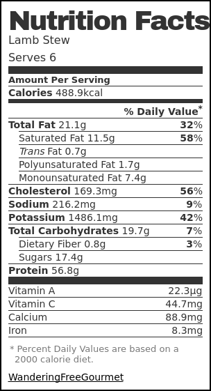 Nutrition label for Lamb Stew
