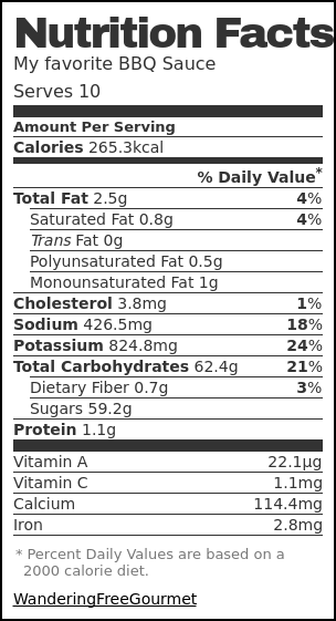 Nutrition label for My favorite BBQ Sauce