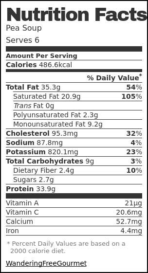 Nutrition label for Pea Soup