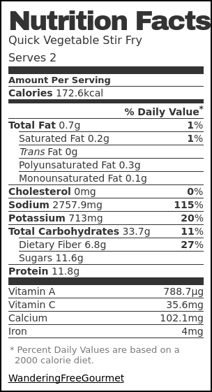 Nutrition label for Quick Vegetable Stir Fry