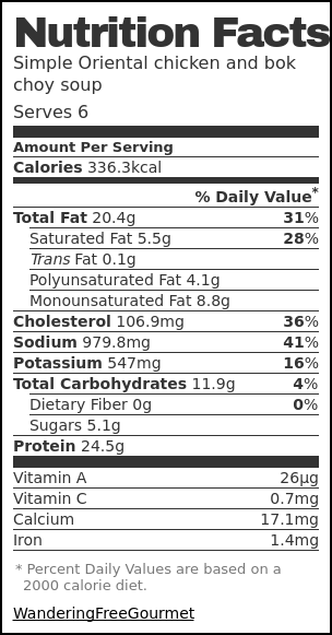 Nutrition label for Simple Oriental chicken and bok choy soup