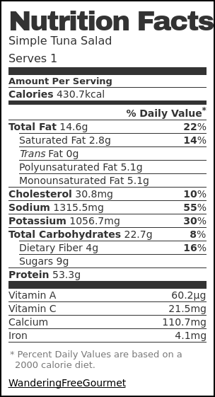 Nutrition label for Simple Tuna Salad