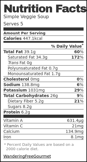 Nutrition label for Simple Veggie Soup