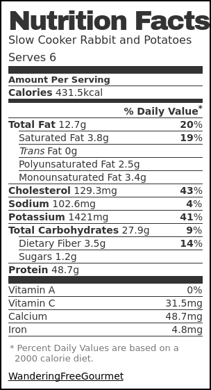Nutrition label for Slow Cooker Rabbit and Potatoes