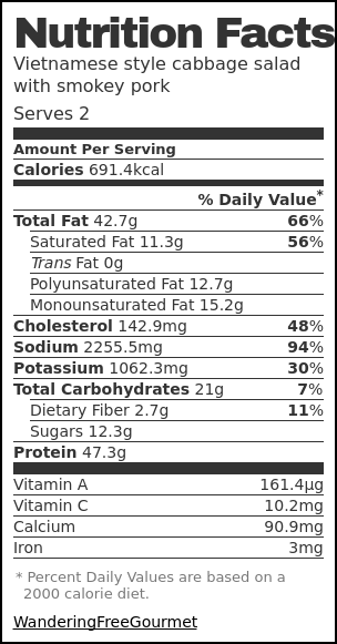 Nutrition label for Vietnamese style cabbage salad with smokey pork